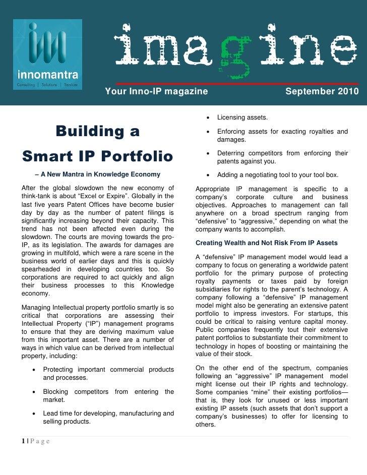 Imagine : Building a Smart IP Portfolio