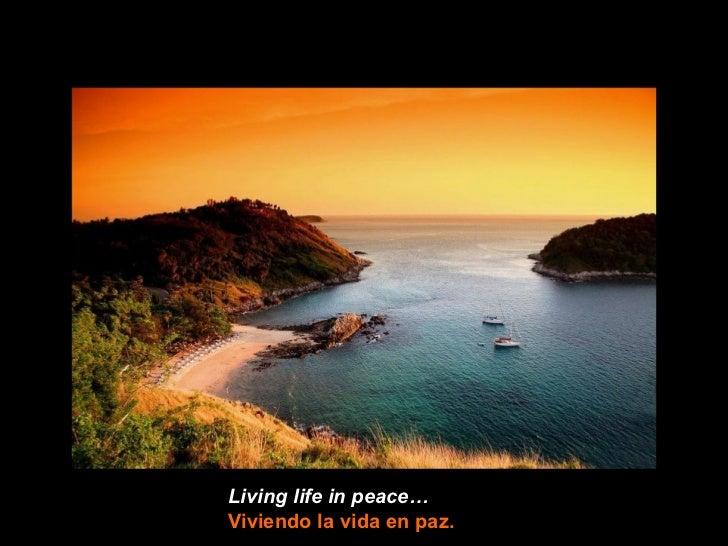 Living life in peace…Viviendo la vida en paz.