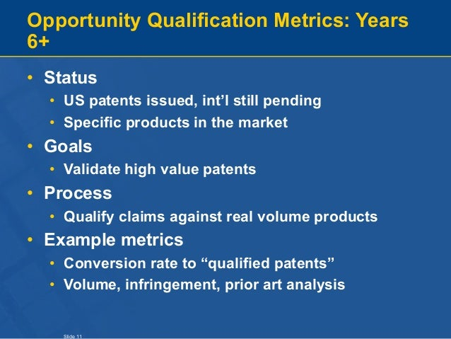 Slide 11 Opportunity Qualification Metrics: Years 6+ • Status • US patents issued, int'l still pending • Specific products...