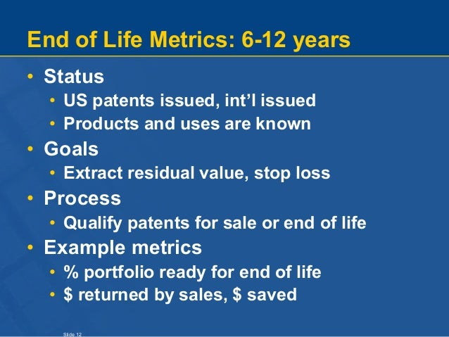 Slide 12 End of Life Metrics: 6-12 years • Status • US patents issued, int'l issued • Products and uses are known • Goals ...