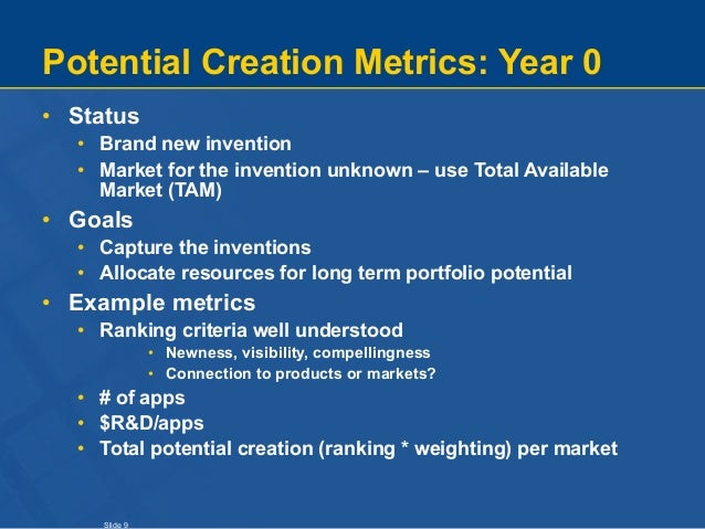 Slide 9 Potential Creation Metrics: Year 0 • Status • Brand new invention • Market for the invention unknown – use Total A...