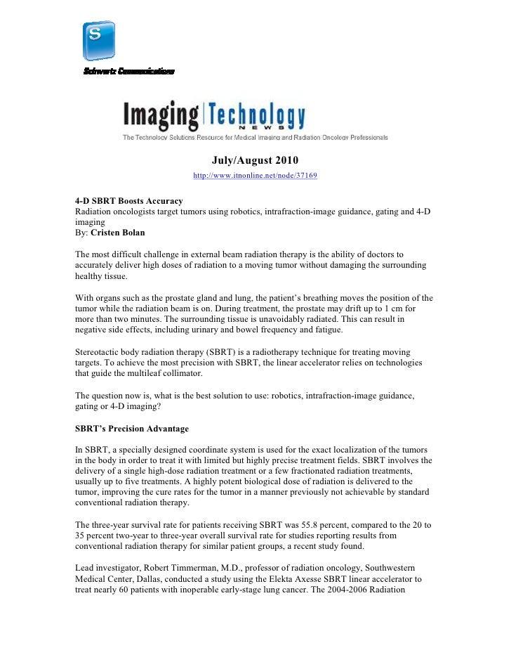 July/August 2010                                  http://www.itnonline.net/node/37169   4-D SBRT Boosts Accuracy Radiation...