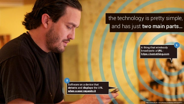 A thing that wirelessly broadcasts a URL: https://something.com Software on a device that detects and displays the URL whe...