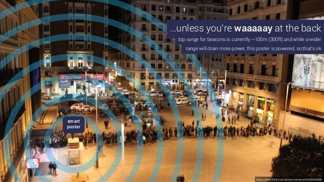 …unless you're waaaaay at the back top range for beacons is currently ~100m (300ft) and while a wider smart poster range w...