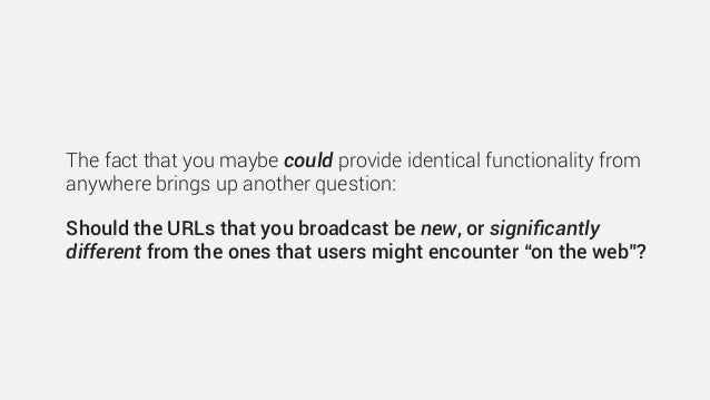 The fact that you maybe could provide identical functionality from anywhere brings up another question: Should the URLs th...