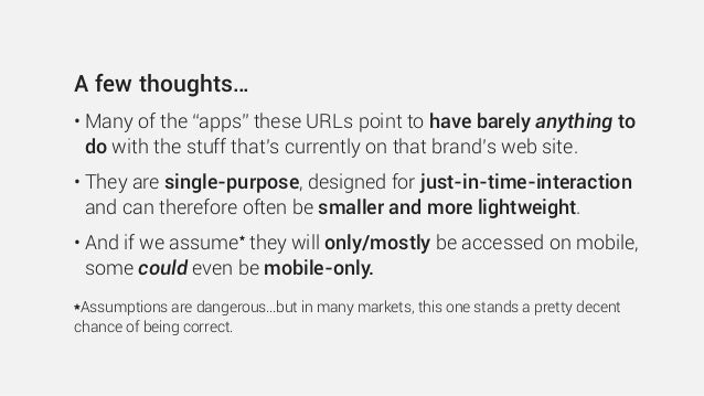 """A few thoughts… • Many of the """"apps"""" these URLs point to have barely anything to do with the stuff that's currently on tha..."""
