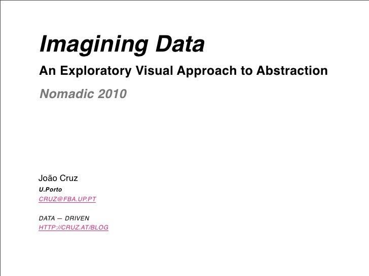 Imagining Data An Exploratory Visual Approach to Abstraction Nomadic 2010     João Cruz U.Porto CRUZ@FBA.UP.PT  DATA — DRI...