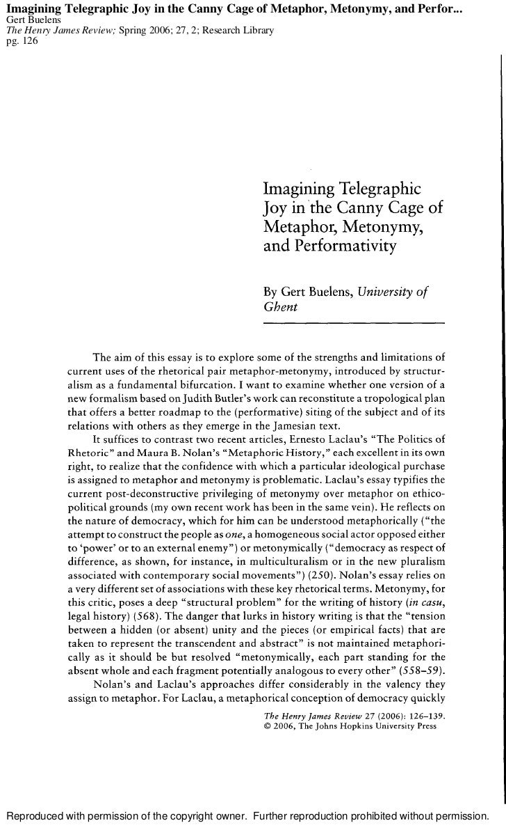 Imagining Telegraphic Joy in the Canny Cage of Metaphor, Metonymy, and Perfor... Gert Buelens The Henry James Review; Spri...