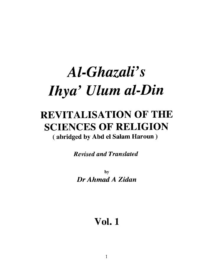 Imam Al Ghazali Ihya Ulumuddin