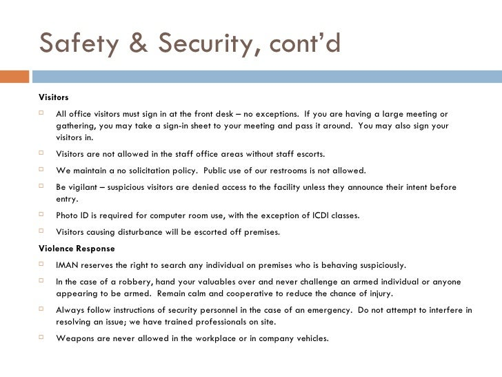 Iman office security protocol for All visitors must sign in template