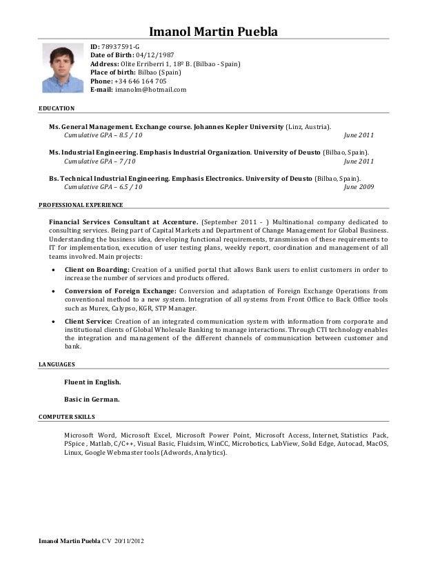 resume for industrial engineer