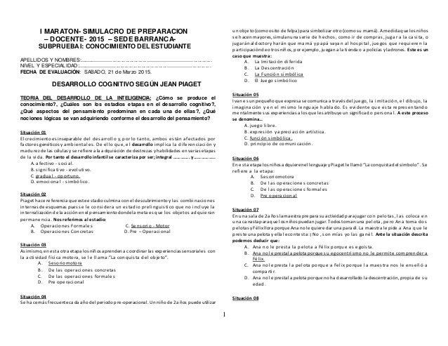 1 I MARATON- SIMULACRO DE PREPARACION – DOCENTE- 2015 – SEDE BARRANCA- SUBPRUEBAI: CONOCIMIENTO DEL ESTUDIANTE APELLIDOS Y...