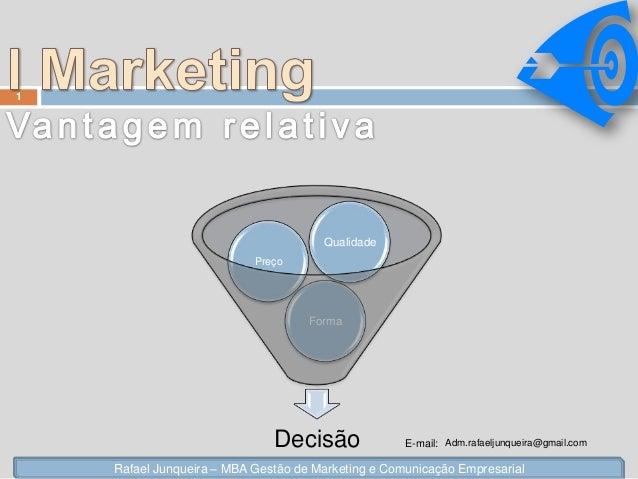 Decisão Forma Preço Qualidade 1 Rafael Junqueira – MBA Gestão de Marketing e Comunicação Empresarial E-mail: Adm.rafaeljun...