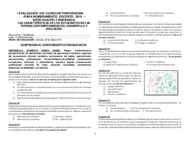 1 I EVALUACIÓN DEL CURSO DE PREPARACION –PARA NOMBRAMIENTO DOCENTE- 2015 – -SEDE HUACHO Y BARRANCA- LAS CARACTERÍSTICAS DE...