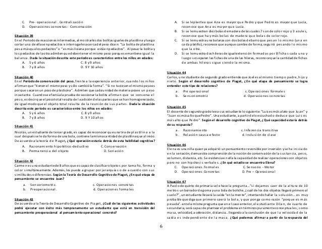 6 C. Pre- operacional . Centralización D. Operaciones concretas- Conservación Situación 39 En el Períodode reaccionesinter...