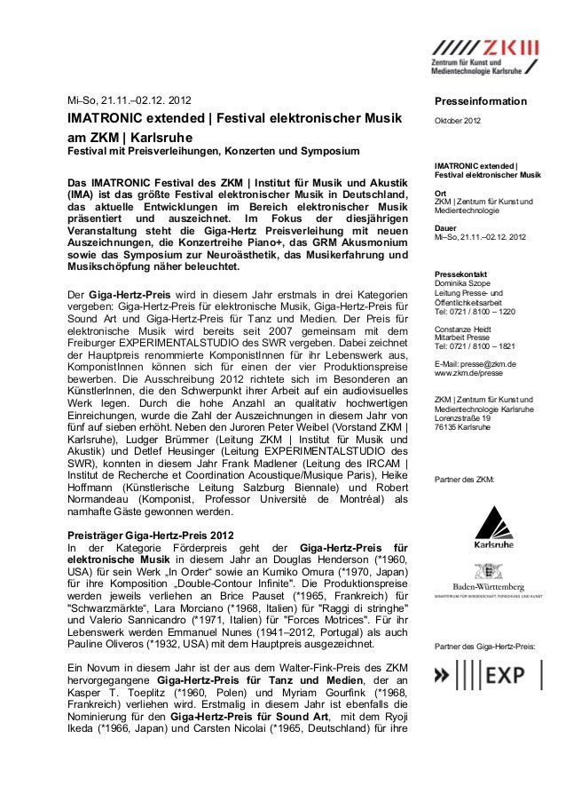 Mi–So, 21.11.–02.12. 2012                                                  PresseinformationIMATRONIC extended | Festival ...
