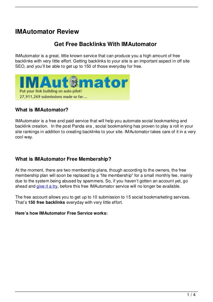 IMAutomator Review                      Get Free Backlinks With IMAutomatorIMAutomator is a great, little known service th...