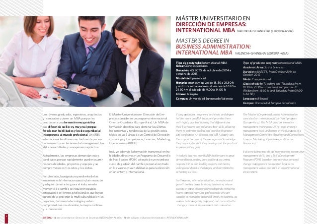 International mba estema escuela de negocios universidad for Universidad valencia master