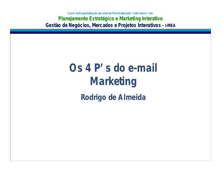 """Curso de Especialização em nível de Pós-Graduação """"Lato Sensu"""" em:     Planejamento Estratégico e Marketing InterativoGest..."""