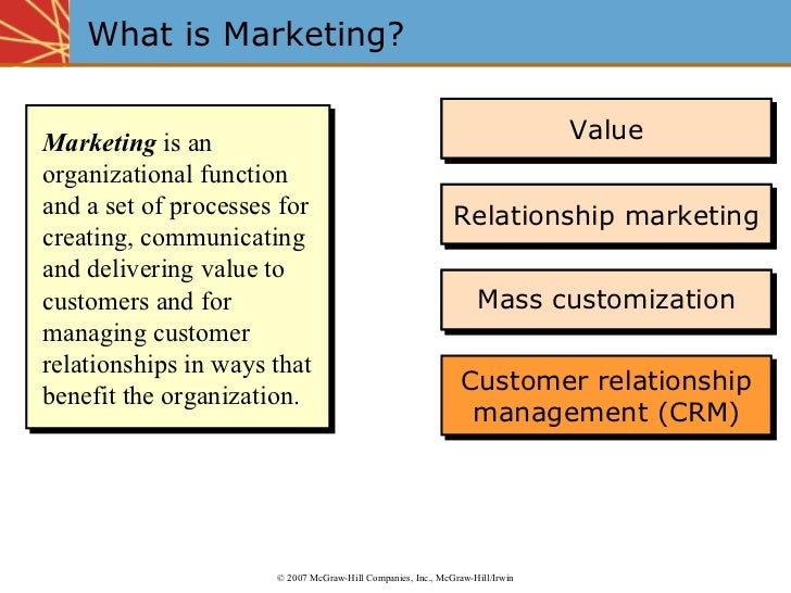 What is Marketing? Marketing  is an organizational function and a set of processes for creating, communicating and deliver...