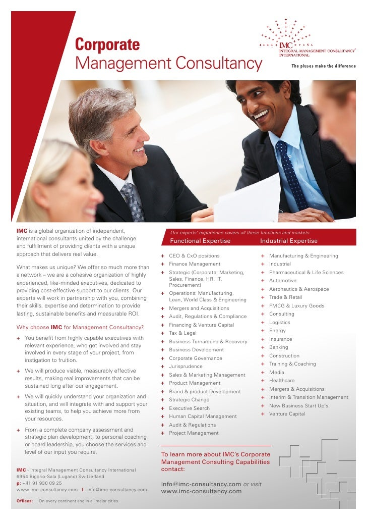 Corporate                              Management ConsultancyIMC is a global organization of independent,                 ...