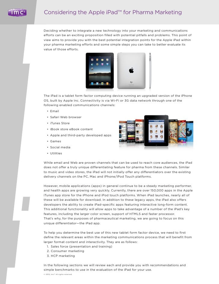 Considering the Apple iPad™ for Pharma Marketing   Deciding whether to integrate a new technology into your marketing and ...