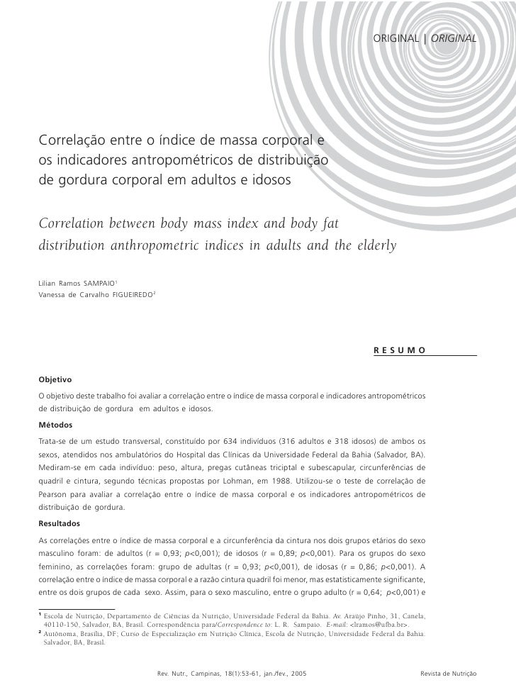 IMC E INDICADORES ANTROPOMÉTRICOS DE DISTRIBUIÇÃO DE GORDURA | 53                                                         ...