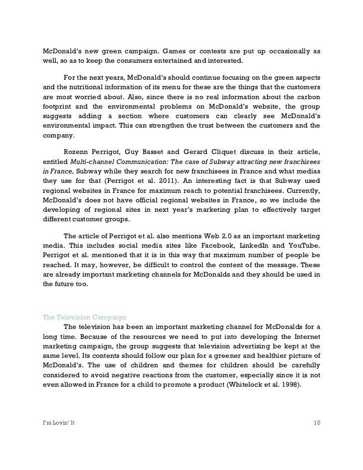 marketing communications mcdonalds Marketing communications edinburgh business school v contents preface xiii a world of marketing communications xiv overview.