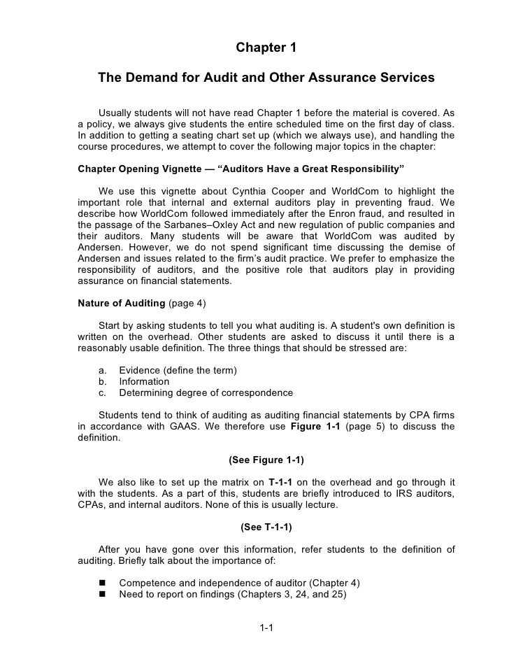 Chapter 1    The Demand for Audit and Other Assurance Services     Usually students will not have read Chapter 1 before th...