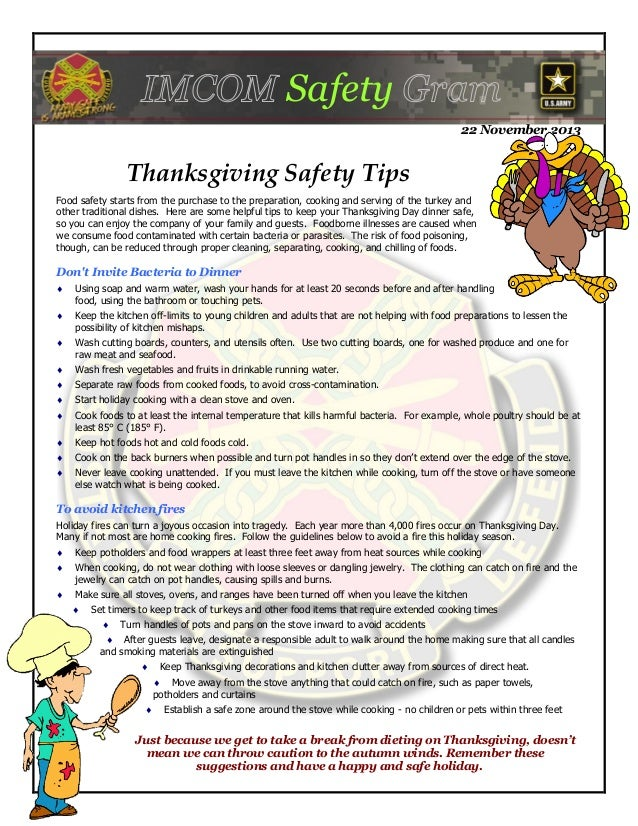Safety 22 November 2013  Thanksgiving Safety Tips Food safety starts from the purchase to the preparation, cooking and ser...