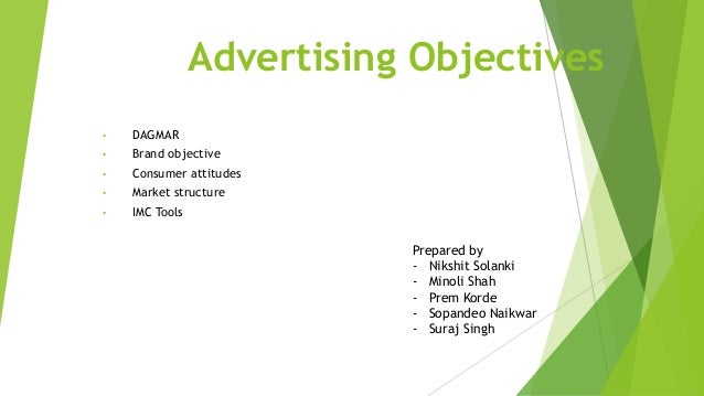 Advertising Objectives • DAGMAR • Brand objective • Consumer attitudes • Market structure • IMC Tools Prepared by - Nikshi...