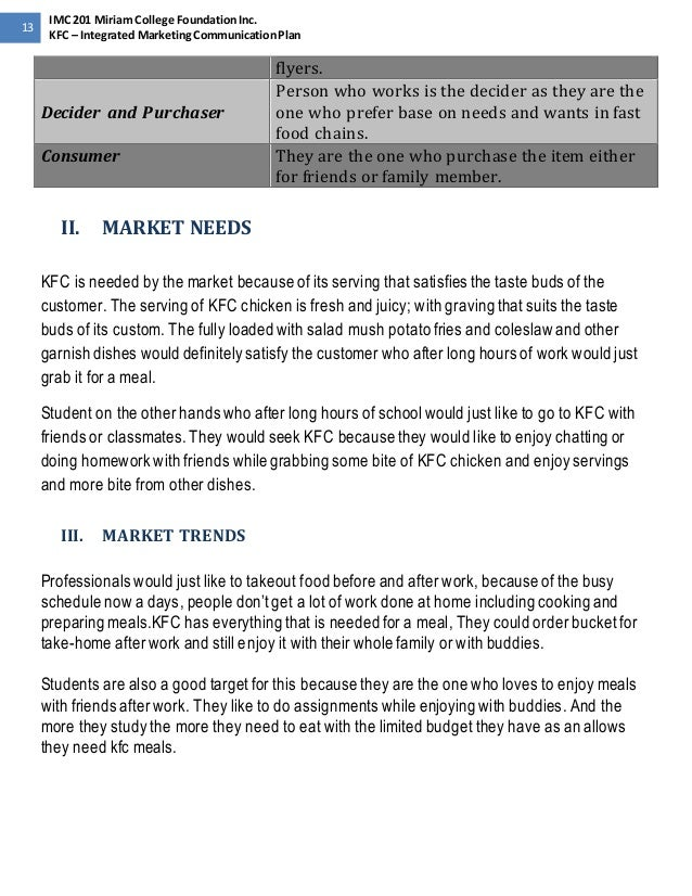 Kfc marketing activity report