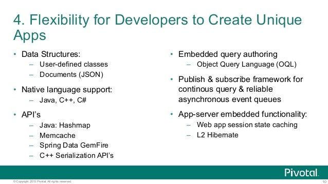 10© Copyright 2015 Pivotal. All rights reserved. 4. Flexibility for Developers to Create Unique Apps • Data Structures: –...