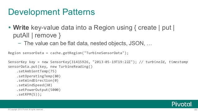 83© Copyright 2015 Pivotal. All rights reserved. Development Patterns Ÿ Write key-value data into a Region using { creat...