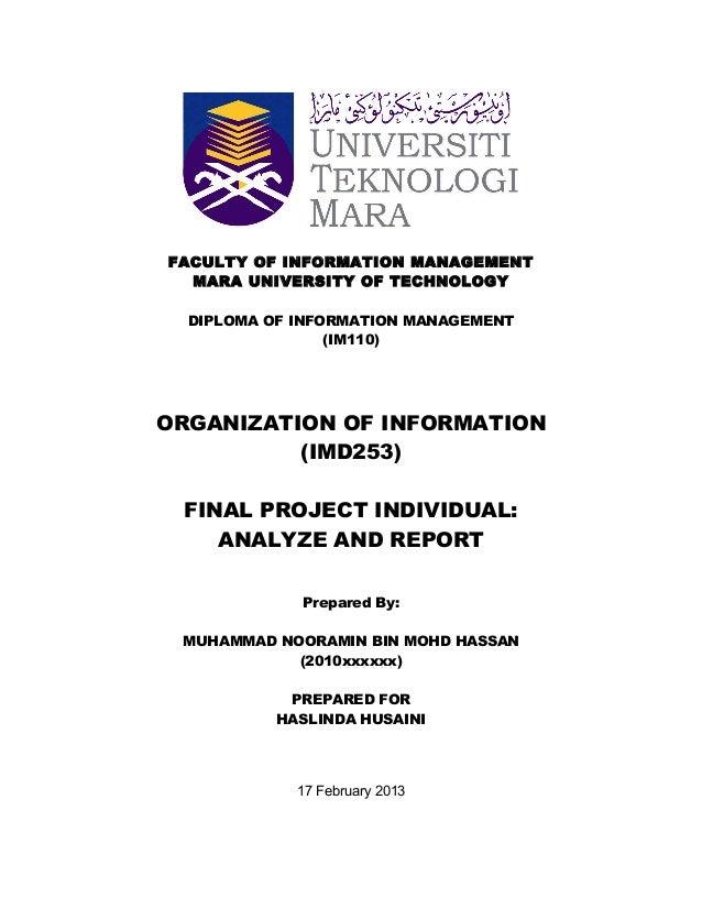 Uitm Im110 Imd253 Organization Of Information Imd253 Individual A