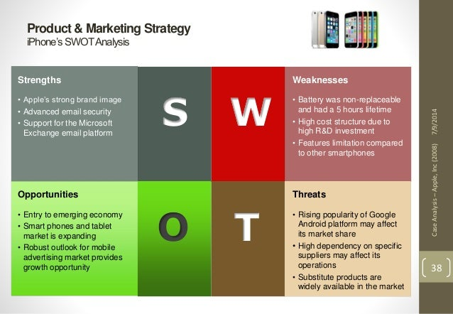 swot analysis apple inc A detail analysis of internal factors (swot analysis) and external factors (pestle analysis) affecting apple inc along with company overview and recommendatio.