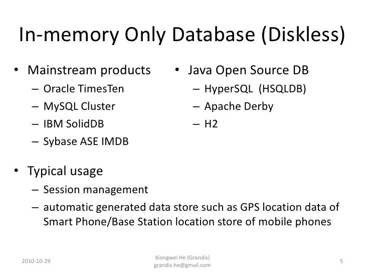 In-memory Database and MySQL Cluster