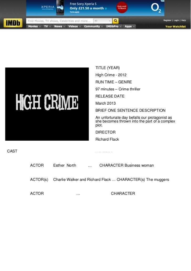 TITLE (YEAR)                                         High Crime - 2012                                         RUN TIME – ...