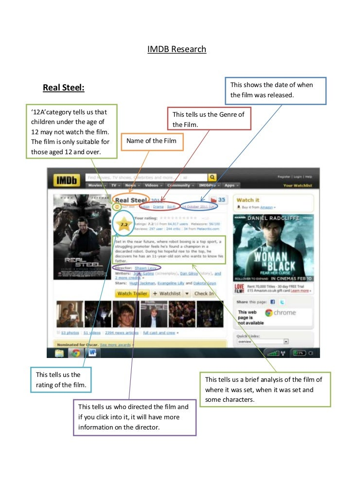 IMDB Research    Real Steel:                                                       This shows the date of when            ...
