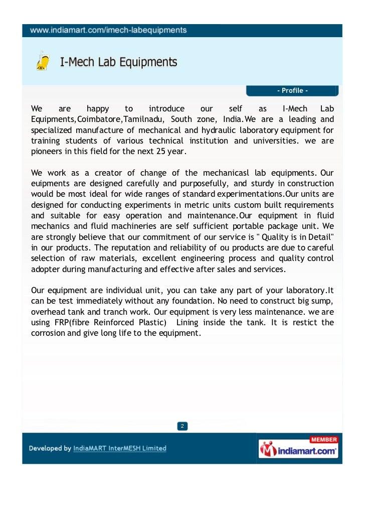 Imech Lab Equipments, Coimbatore, Hydraulics Equipments Slide 2