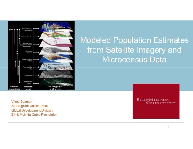 Modeled Population Estimates from Satellite Imagery and Microcensus Data Vince Seaman Sr. Program Officer, Polio Global De...