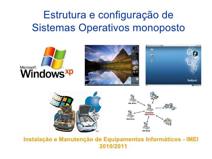 Estrutura e configuração de  Sistemas Operativos monopostoInstalação e Manutenção de Equipamentos Informáticos - IMEI     ...