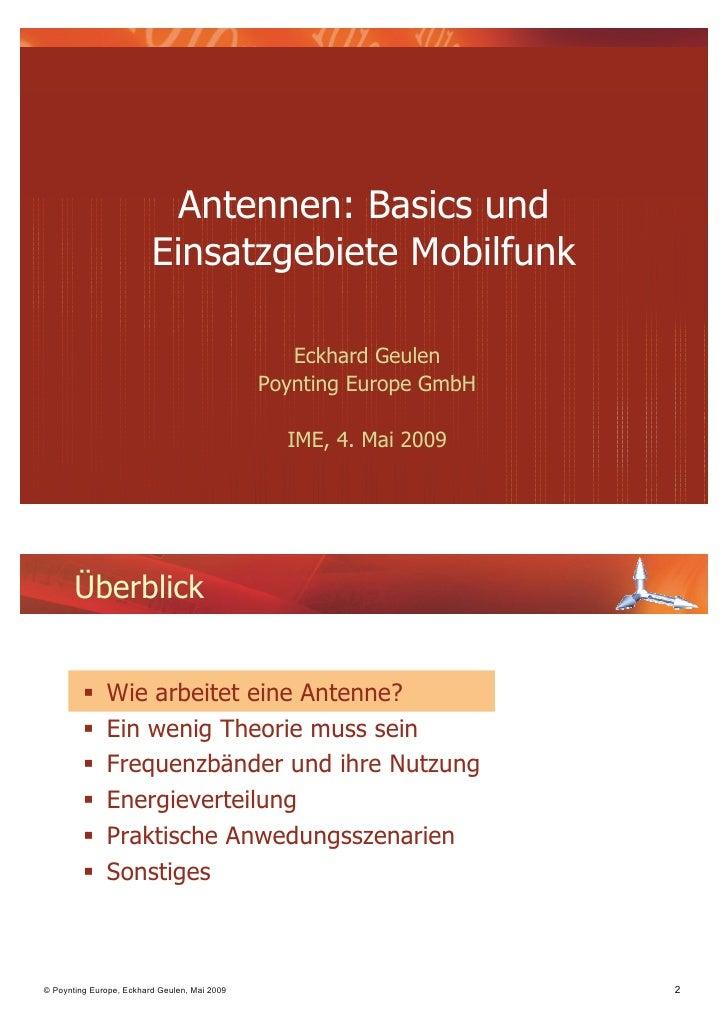 Antennen: Basics und                         Einsatzgebiete Mobilfunk                                                 Eckh...