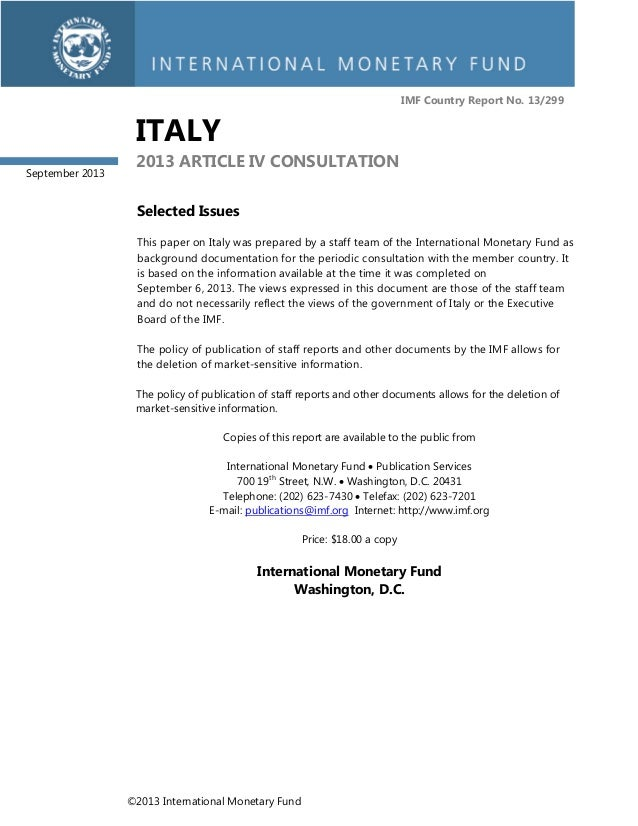 IMF Country Report No. 13/299  ITALY September 2013  2013 ARTICLE IV CONSULTATION Selected Issues This paper on Italy was ...