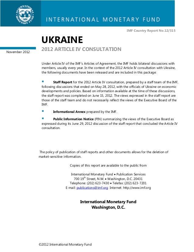 IMF Country Report No.12/315                 UKRAINENovember 2012                 2012 ARTICLE IV CONSULTATION            ...