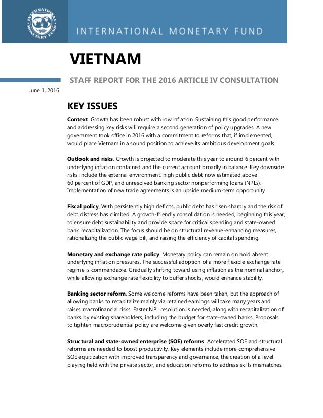 Imf 2016 Staff Report Vietnam Article Iv Consultation