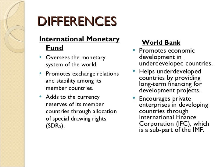 Diff bet world bank and imf meeting