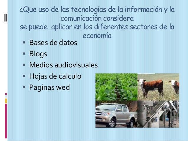 ¿Que uso de las tecnologías de la información y la comunicación considera se puede aplicar en los diferentes sectores de l...