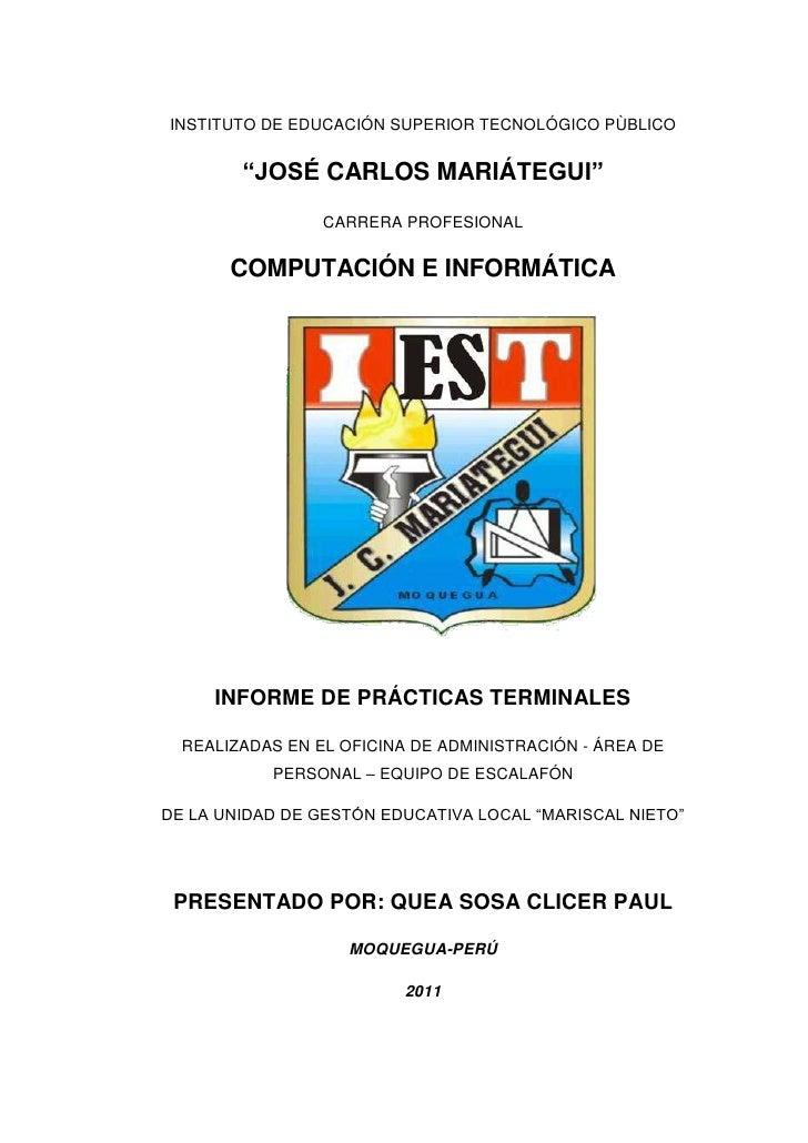"""INSTITUTO DE EDUCACIÓN SUPERIOR TECNOLÓGICO PÙBLICO<br />""""JOSÉ CARLOS MARIÁTEGUI""""<br />CARRERA PROFESIONAL<br />COMPUTACIÓ..."""