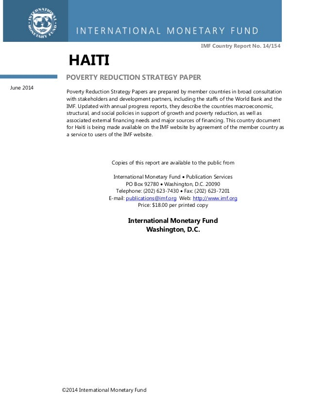 ©2014 International Monetary Fund IMF Country Report No. 14/154 HAITI POVERTY REDUCTION STRATEGY PAPER Poverty Reduction S...